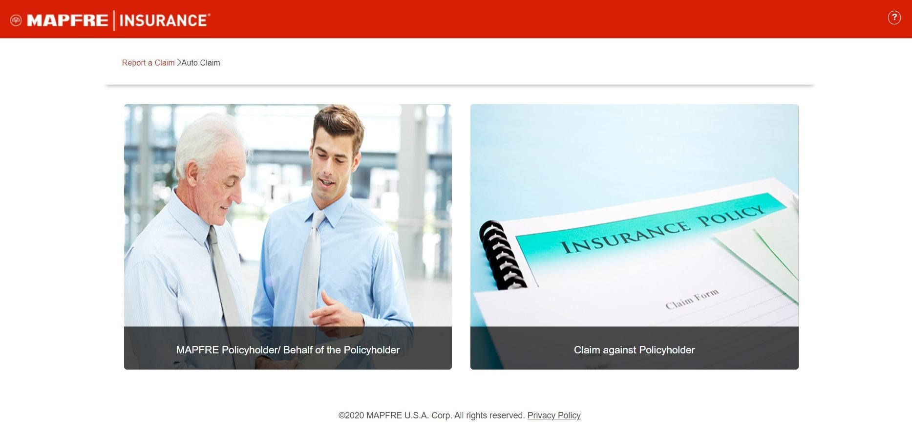 MAPFRE Auto Insurance Online Claim Submission