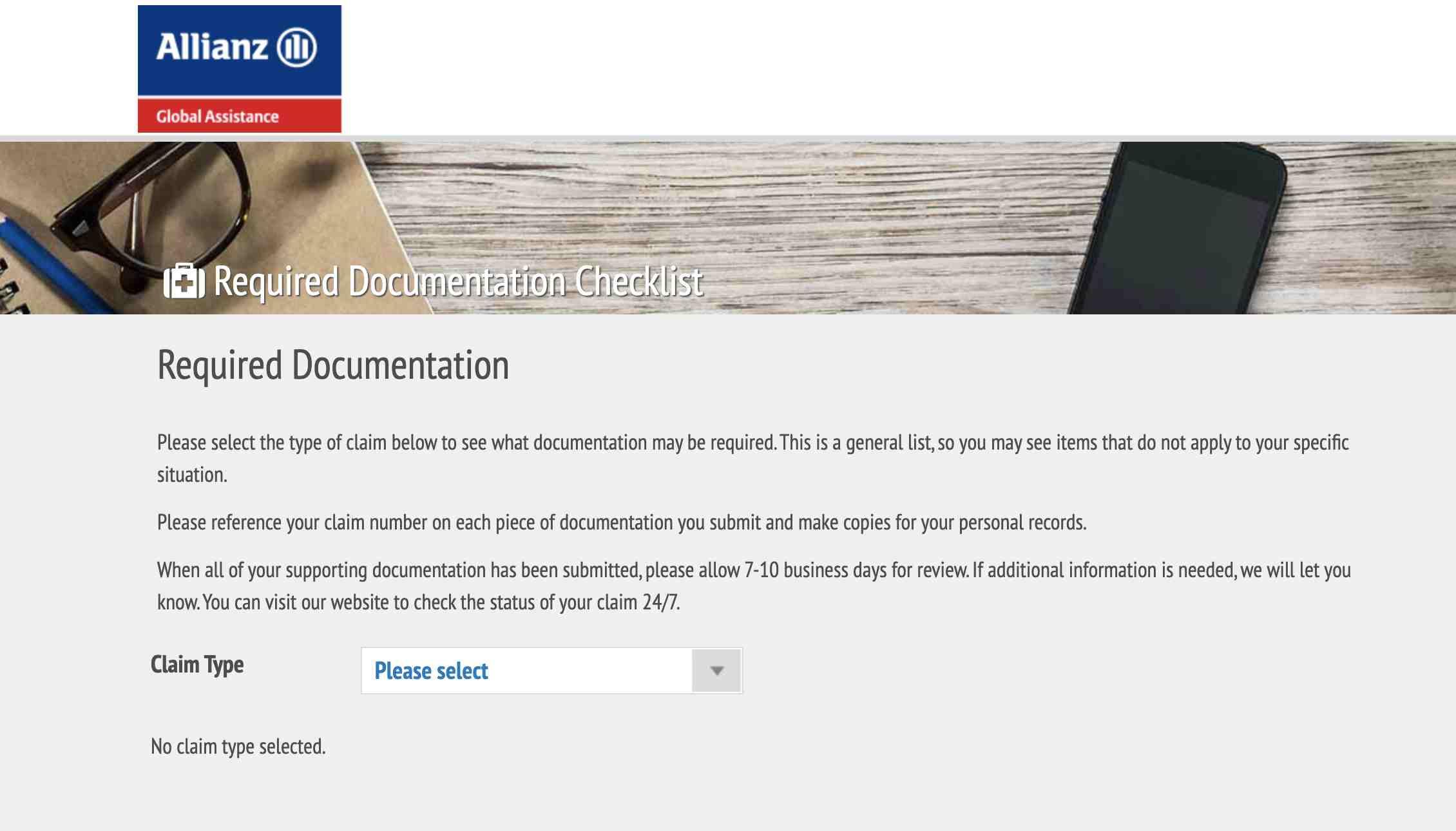 Allianz Required Documentation Checklist
