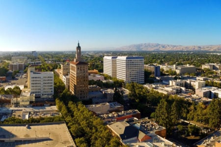 View of north part of downtown San Jose, California, the capitol of Silicon Valley on a sunny day with blue sky.