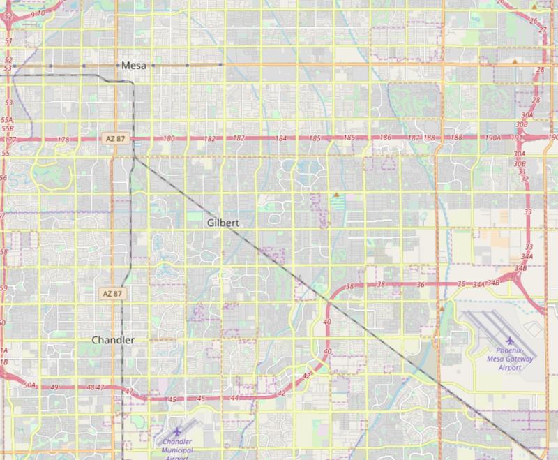 Gilbert Arizona Road Map