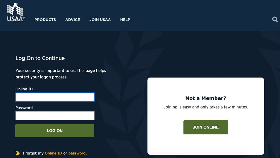 USAA members login/Create an account