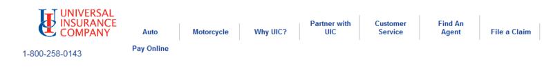Universal Insurance Company Auto Insurance web site navigation