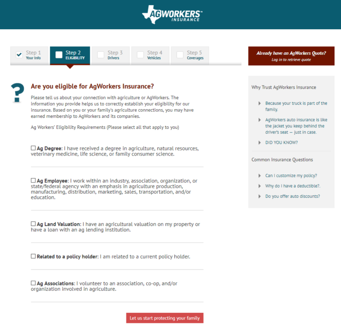AgWorkers Auto Insurance Website Online Quote, Step 2 Eligibility