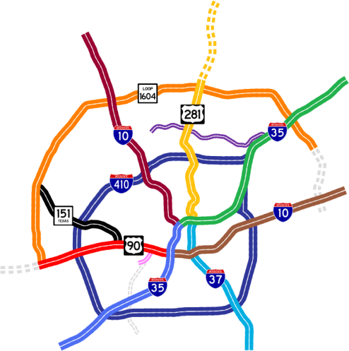 Map of the major highways and freeways in San Antonio, from texashighwayman.com