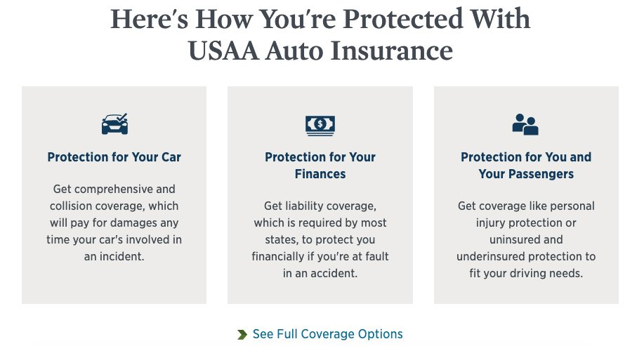 usaa coverage options screenshot