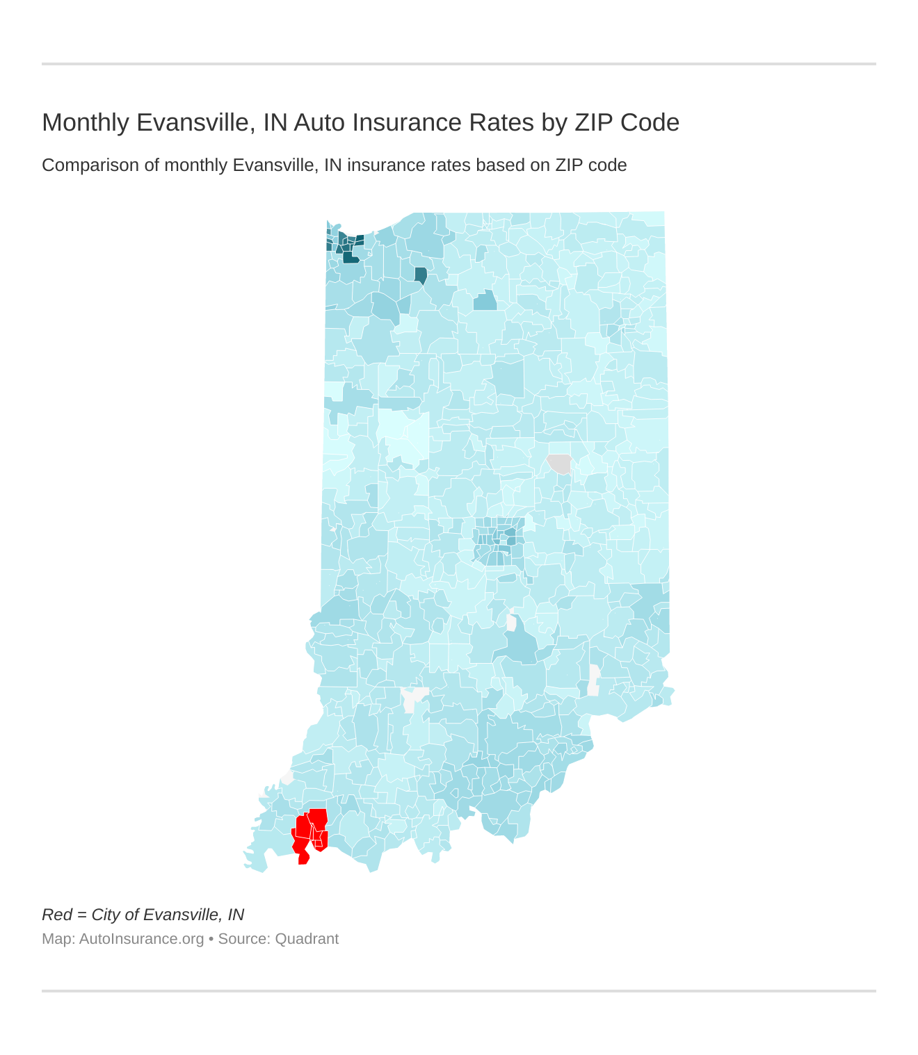 Monthly Evansville, IN Auto Insurance Rates by ZIP Code