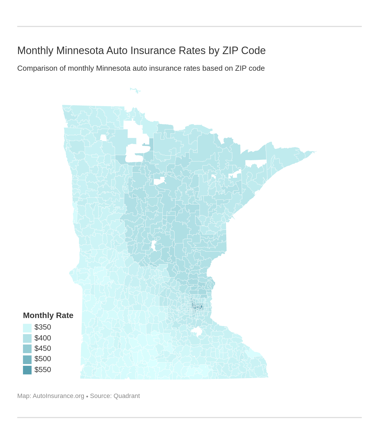 Monthly Minnesota Auto Insurance Rates by ZIP Code
