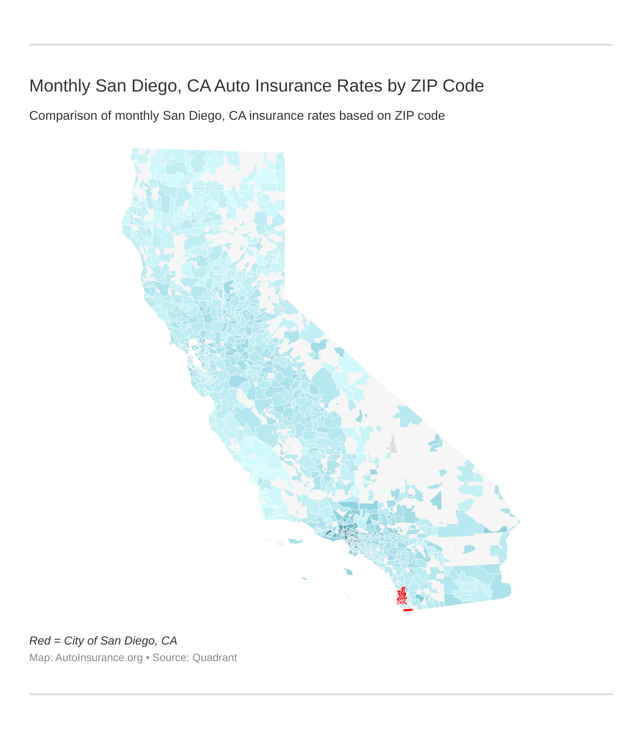 Monthly San Diego, CA Auto Insurance Rates by ZIP Code