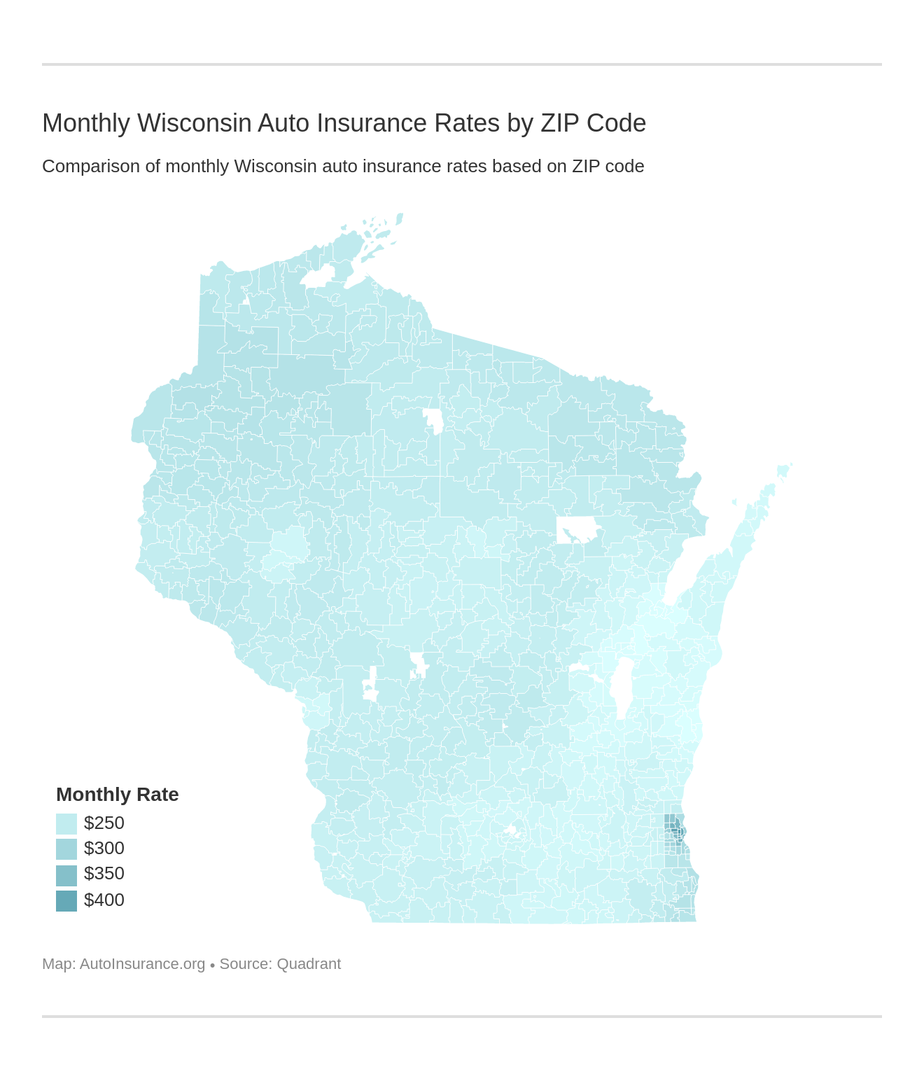 Monthly Wisconsin Auto Insurance Rates by ZIP Code